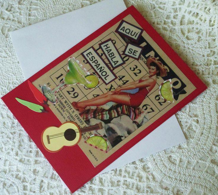 Handmade card, original design, collage