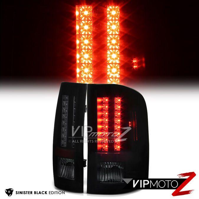 SINISTER BLACK 2007-2013 Chevy Silverado 1500 2500HD 3500HD Smoke LED Tail Light #VIPMOTOZ