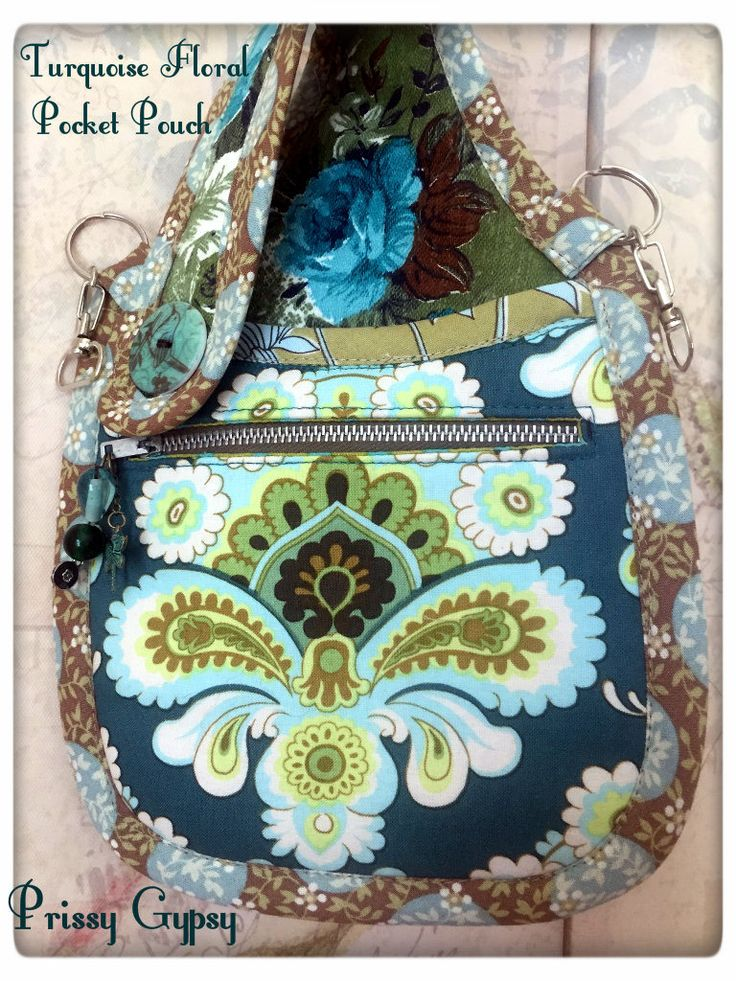 Lina Pocket Pouch In Green & Turquoise Vintage Floral Barkcloth and Amy Butler Spruce print. Can be worn as a pocket pouch on your belt or belt loops, or as a wristlet or as a cross body belt with a custom made adjustable strap. One of a Kind.