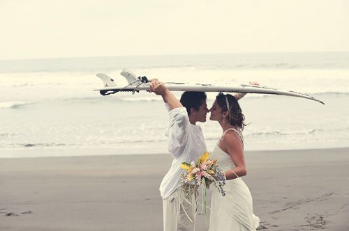 Inspirational ideas for soulful surfers on their wedding day...this is cool, if I had my wedding at the beach ;)