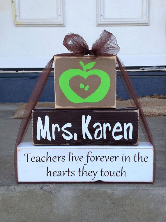 Personalized teacher principal appreciation wood block set live forever in hearts they touch christmas classrom end of year gift