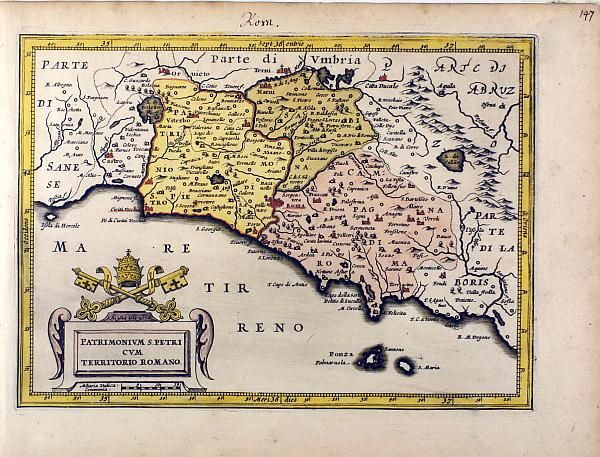 Ancient map of the territory of Rome – Old map dating back to 1620