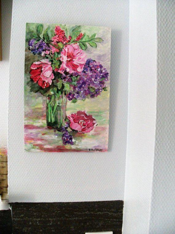 Peinture à l\'huile Bouquet du jardin,Cadeaux Femmes,Fleurs dans un ...