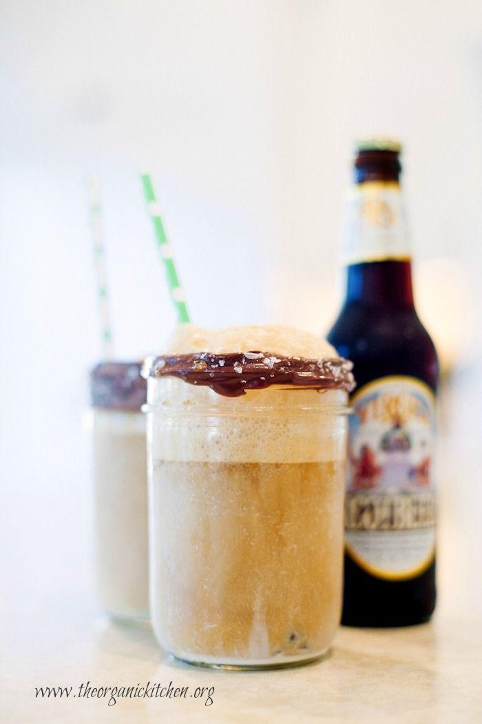 Gourmet Root Beer Float in a Chocolate Dipped Mason Jar with Sea Salt! #rootbeerfloat #dessert #ad