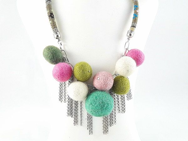 Women's Day SALE 50% off coupon code MODO2016 Felted Jewelry for Gift, Felted Ball Necklace, Gift for Woman, Gift for Her, Gift for Mother by modotikon on Etsy