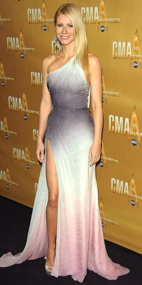 Gwyneth Paltrow at the Country Music Awards, arrived for the show in a beaded degradé effect Atelier Versace gown and silver peep-toe heels.