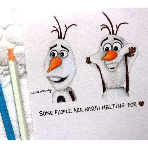 Olaf - Original Drawing by (vivianhitsugaya or http://www.colour-to-inspire.tumblr.com Instagram: http://www.instagram.com/vivianhitsugay...