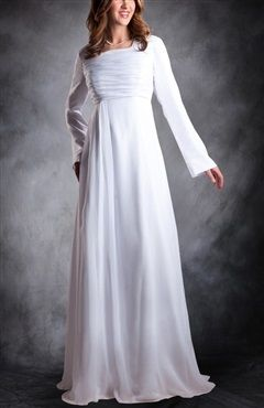 Chiffon A-line Long Sleeves Wedding Dress Style Code: 09595 $175 Order this modest wedding gown here: http://www.outerinner.com/chiffon-a-line-long-sleeves-wedding-dress-pd-09595-13.html #modestweddinggowns #wedding #outerinner