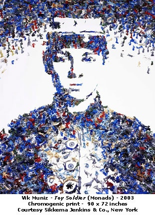 "Vik Muniz - Toy Soldier  ""I would like people to walk toward a picture, to see how it changes as they walk"". Here the soldier is constructed entirely out of plastic war toys."