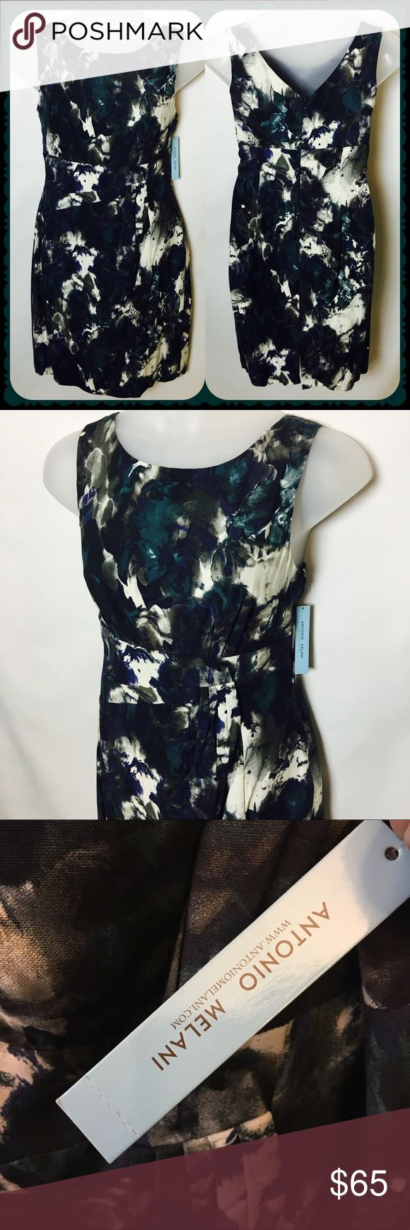 NWT Antonio Melani Raquel Fall Roses Dress Size 14 Gorgeous Antonio Melani fall roses Raquel dress in teal Brand-new Size 14 Bust measures 38 inches Waist measures 36 inches Length measures 38 inches ANTONIO MELANI Dresses