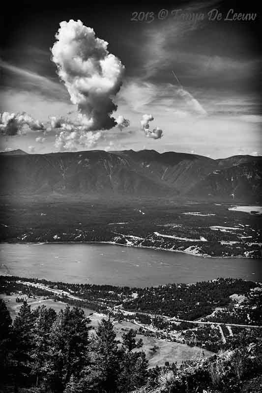 The view from Mt Swansea across Lake Windermere to the Purcell Mountains. Southeastern BC, Canada.