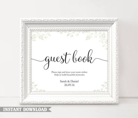 Guest Book Sign Wedding Printable Signs Guestbook T