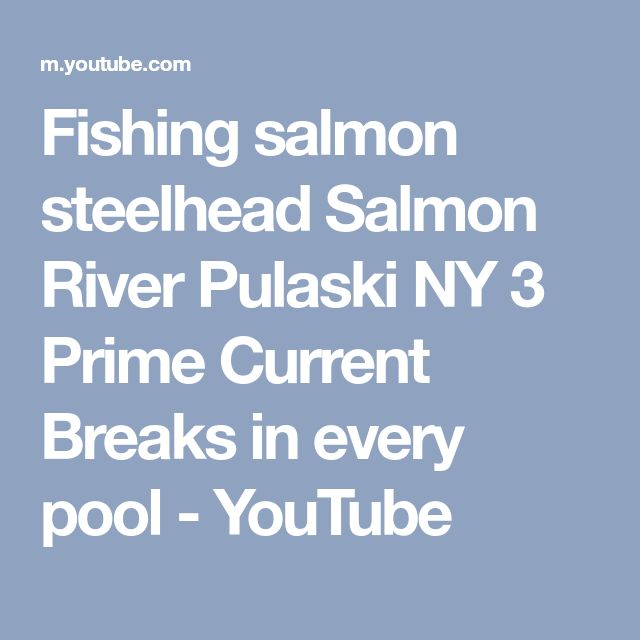 Fishing salmon steelhead Salmon River Pulaski NY 3 Prime Current Breaks in every pool - YouTube