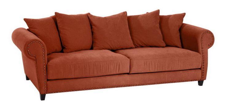 Sofa 3-sitzig, Nietenverzierung, Big-Sofa, große Sitztiefe, 3-Sitzer, Design