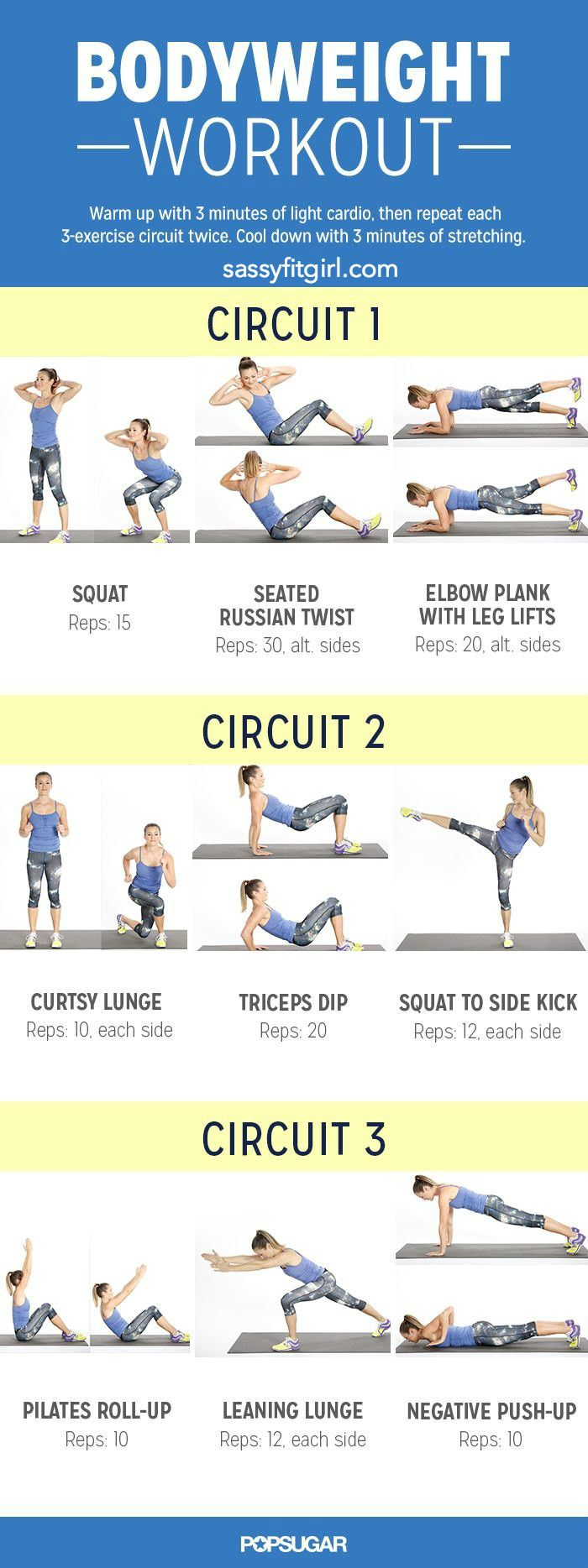 Bodyweight Workout for Women Found this awesome workout on Popsugar and decided to do it as part of my cross training tonight. Warm up for 3-5 minutes and then do the 3 circuits below: Circuit 1 •...