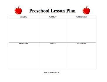 A Blank Week Long Lesson Plan For Preschool Teachers With Colorful