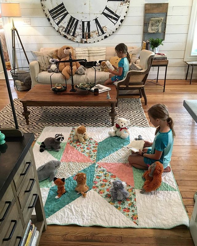 "The girls have been taking sewing lessons for a year now and for the last few weeks they have been talking about a surprise they are making. They finally finished this week and I just love this quilt and so do their ""students"" they are reading to! Hello weekend, I'm thankful for you."