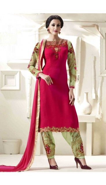 Pink And Green Georgette Patiala Suit With Stone And Embroidered Dupatta - DMV14751