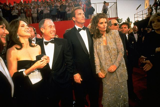 1995 Oscars Red Carpet Sally Field, David Geffen, Arnold Schwarzenegger, and Maria Shriver.
