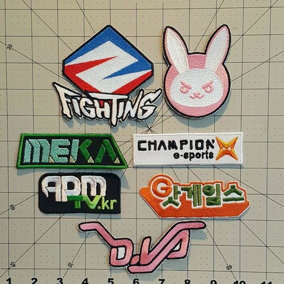 D.VA Complete Decal Patch Set Overwatch Inspired Embroidered Cosplay Costume D.Va Decal Patch Set - Sew on or Iron On patches