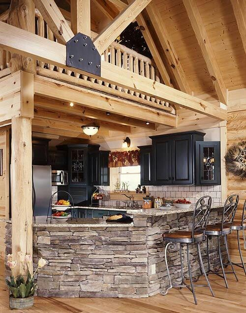 Stacked stone bar and black cabinets