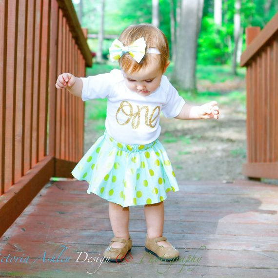 First Birthday Outfit with Twirl Skirt and Hair Bow, Mint and Gold Polka Dot Birthday Outfit