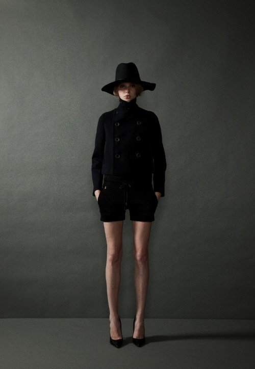 THE RERACS SS 2013 (designer) : floppy hat + car coat + runner shorts + heels