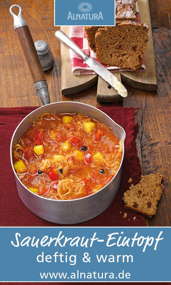 Deftiger Sauerkraut-Eintopf #Alnatura #Rezept #warm #flüssig #Eintopf #Suppe #homemade