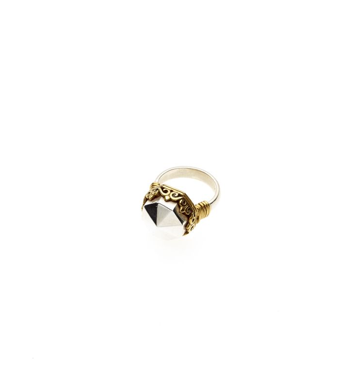 PUSHMATAaHA/ Octagonal Monarch Ring/ Gold with Sterling Silver