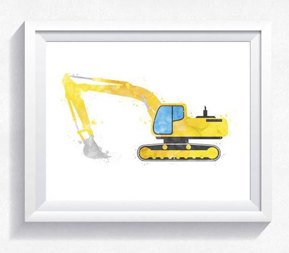 Excavator printable watercolor digger printable excavator wall