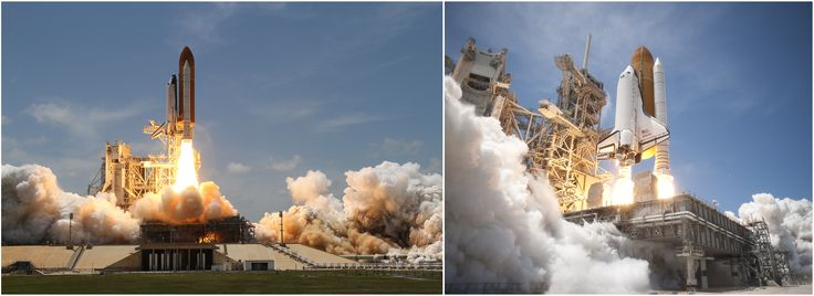 Two views of the launch of STS-132, a NASA Space Shuttle mission which lasted from 14 May to 26 May 2010. Photo by NASA [2765x1010]
