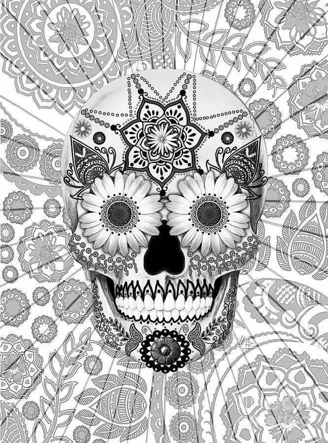 Sugar Skull Bleached Bones - Copyrighted Mixed Media - Sugar Skull Bleached Bones - Copyrighted Fine Art Print