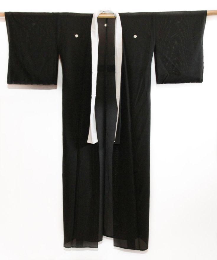 Black Kimono Handmade Vintage Japanese Robe, Bourdoir, Coverup, Summer outfit by CJSTonbo on Etsy