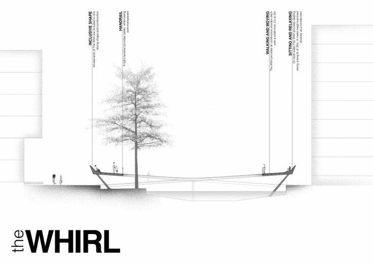Cross section - THE WHIRL (by Marc de Vrij & Melle van Dijk)  Ørestad, Copenhagen hotspot design for Innosite 'Mind the gap' competition. Landscape architecture.