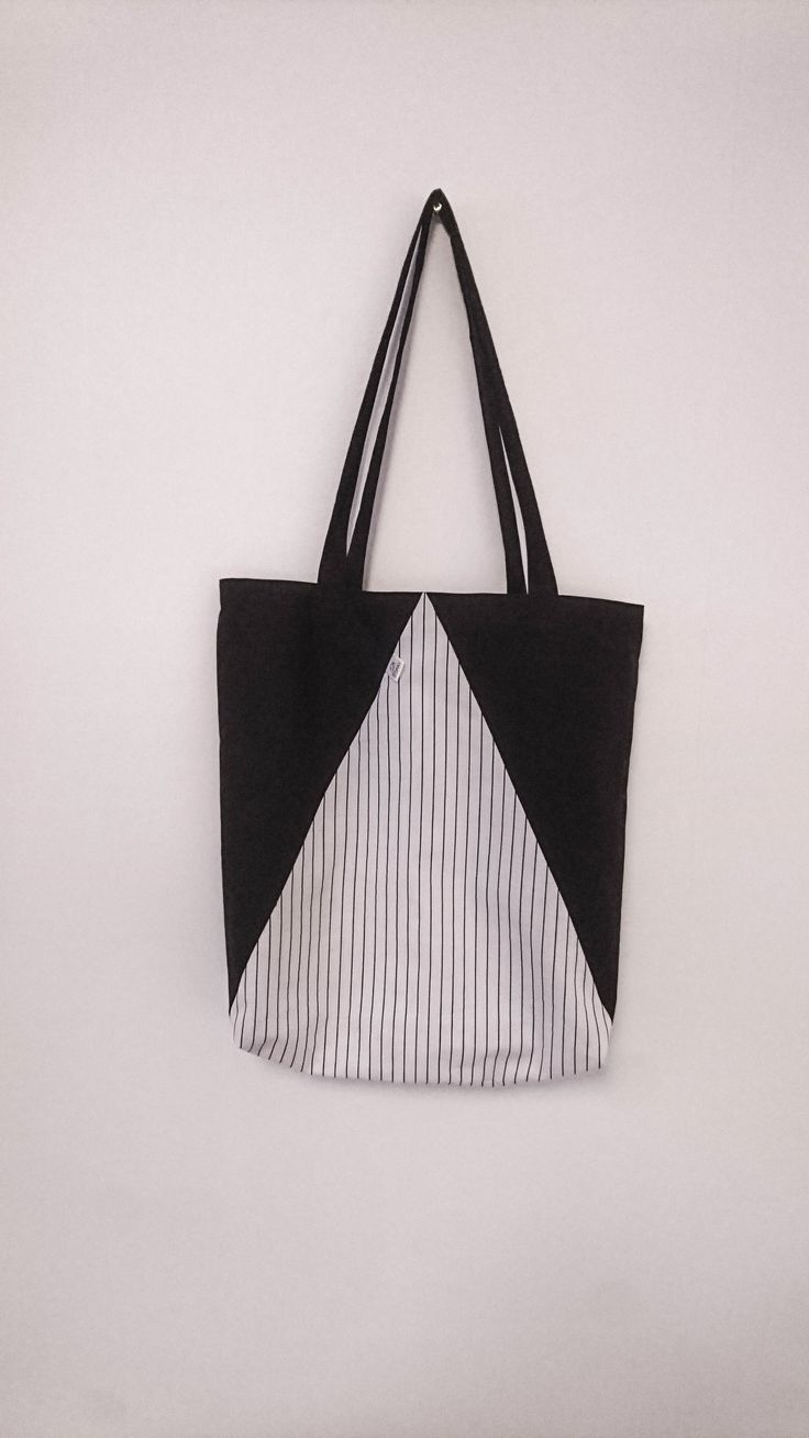 Fabric Tote - Black & White Triangle Color Block