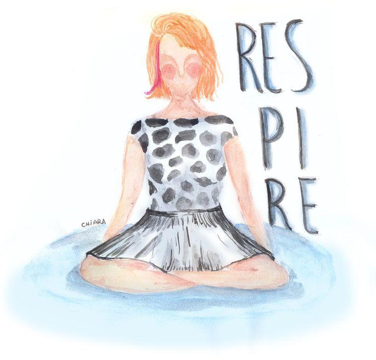 animation gif girl woman calma respire meditation illustration watercolor