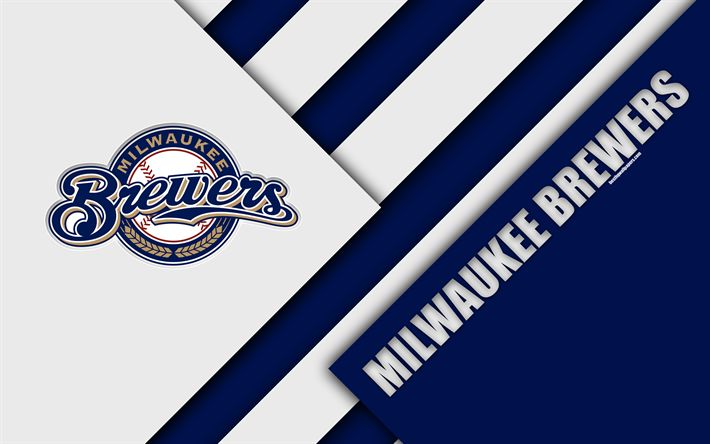 Download wallpapers Milwaukee Brewers, MLB, 4k, National League, blue abstraction, logo, material design, American baseball club, Milwaukee, Wisconsin, USA, Major League Baseball
