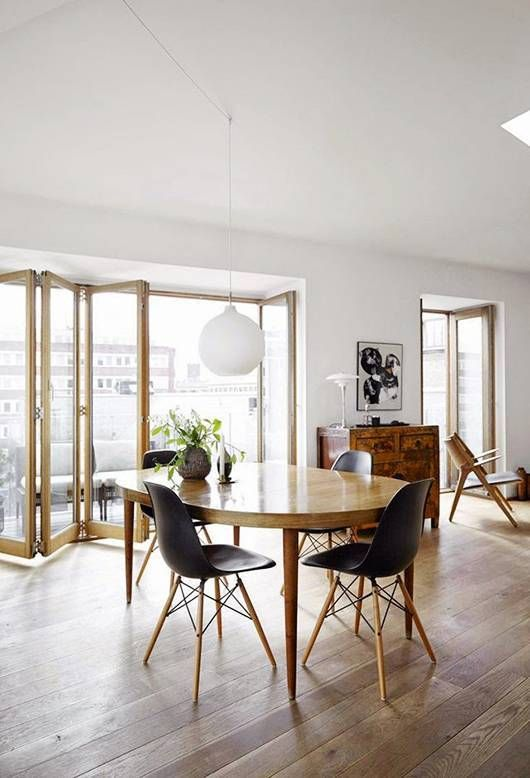 Danish open-plan living space and wood floors