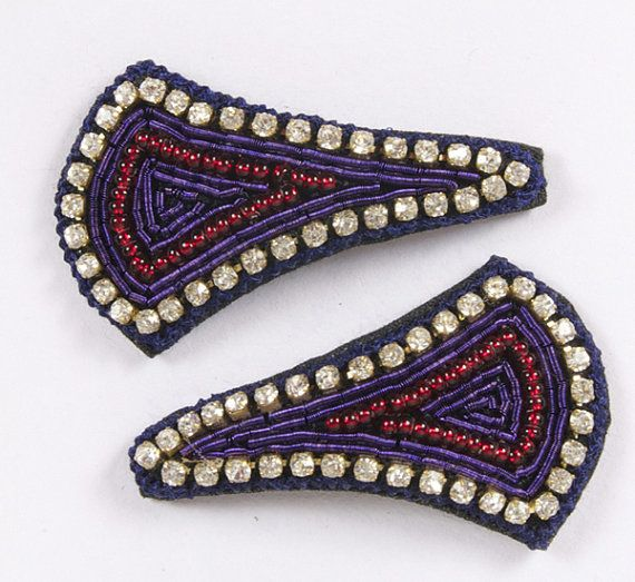 Purple thread edging with diamonds and red beading embroidery in the center.  Snap clip, diamantes, hand embroidered. Purple, Red, Beading & Diamantes.  £8.00 on Etsy... Please click on the Etsy link to purchase.