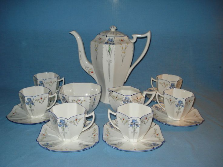 Shelley Blue Iris Complete Coffee Set Queen Anne Shape