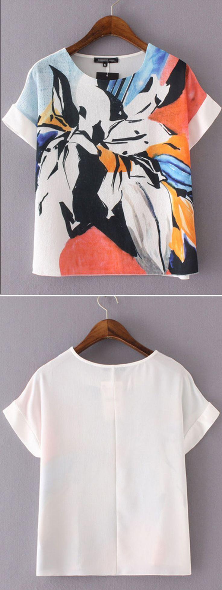 Shop Multicolor Short Sleeve Flower Print Blouse online