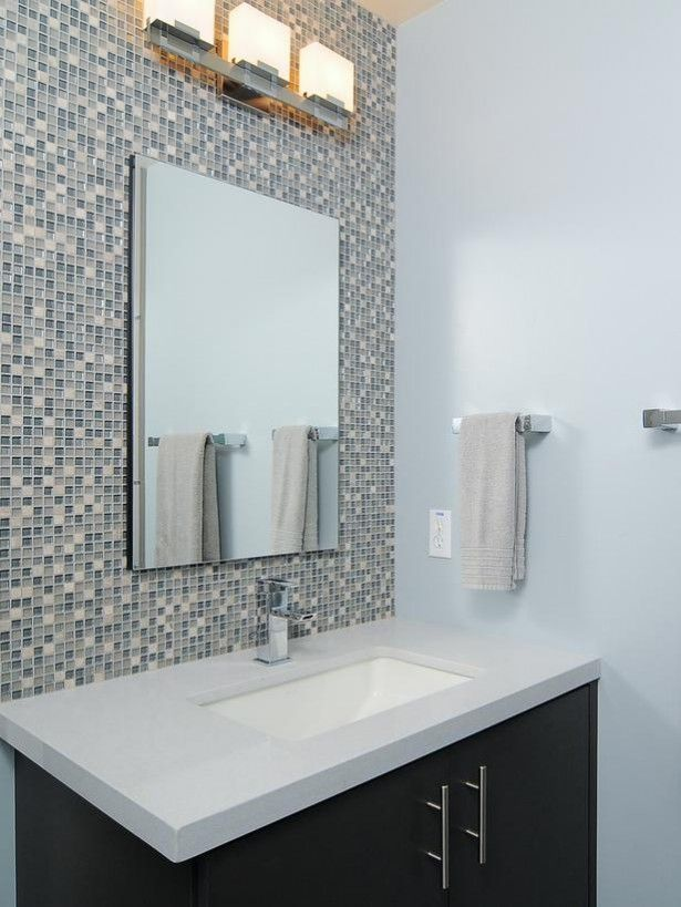 mosaic tile bathroom backsplash design wall mirror washstand - Mosaic Bathroom Designs
