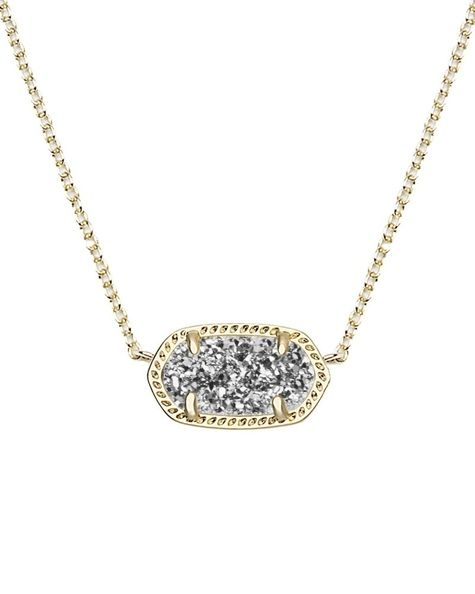 Kendra Scott ~ Elisa Pendant Necklace (Gold/PlatinumDrusy)
