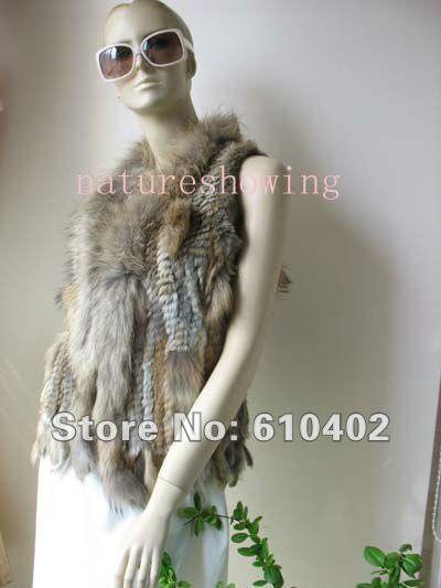 В режиме реального rabbite мех и raccoondog меховой воротник вязаный жилет, // Куртка // натуральный коричневый