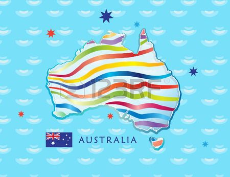 Map of Australia for Celebration Australia Day 26th January Poster with Australia map Australian fla Stock Vector