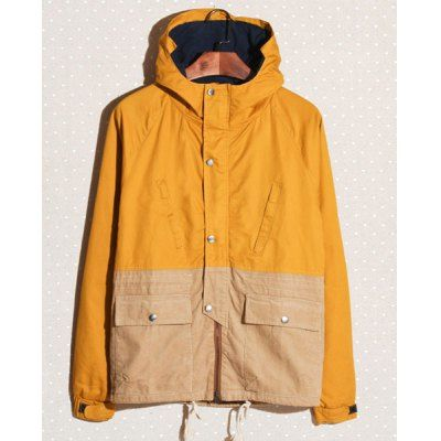 Casual Style Hooded Long Sleeves Color Block Zipper Design Men's Corduroy Jacket