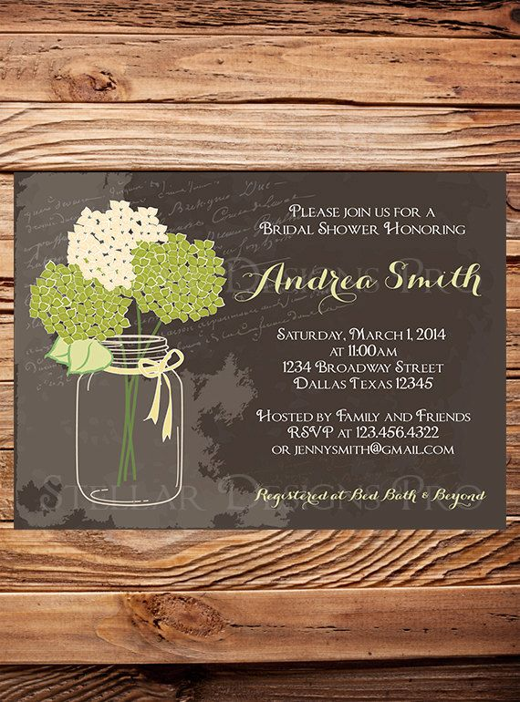 Hydrangea Mason Jar Bridal Shower Invitation by StellarDesignsPro