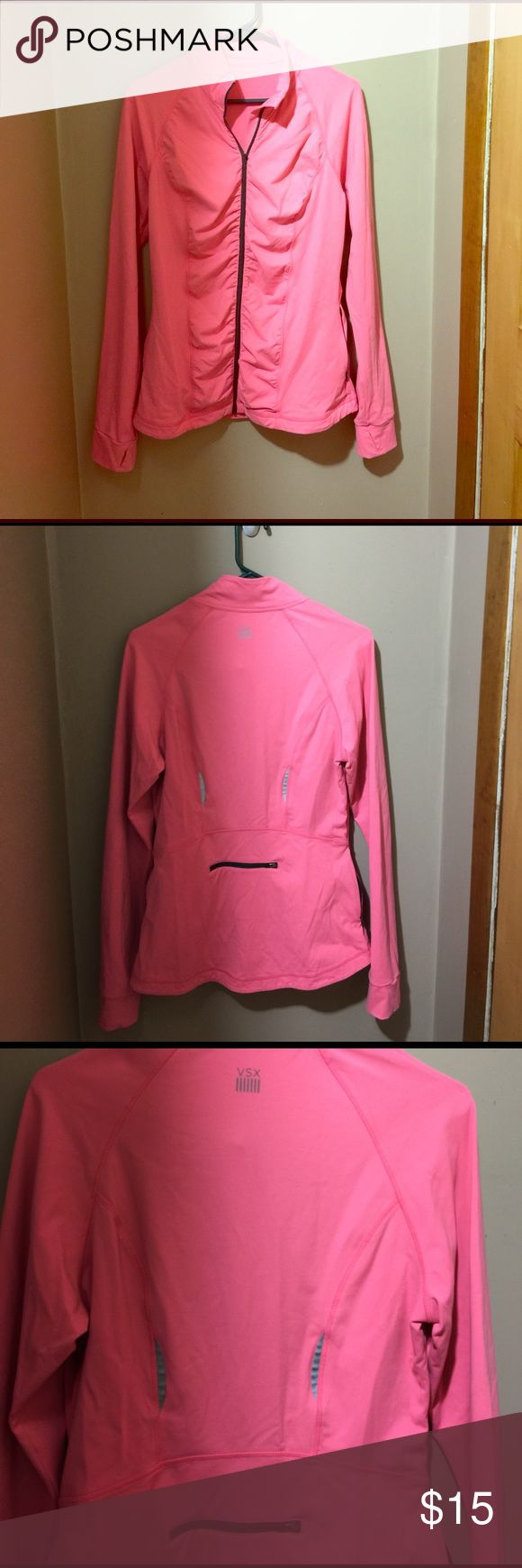 VSX zipper back workout zip up! Gently used, and very fitting to curves! Victoria's Secret Tops Sweatshirts & Hoodies