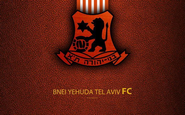 Download wallpapers Bnei Yehuda Tel Aviv FC, 4k, football, logo, Bnei emblem, leather texture, Israeli football club, Ligat HaAl, Tel Aviv, Israel, Israeli Premier League