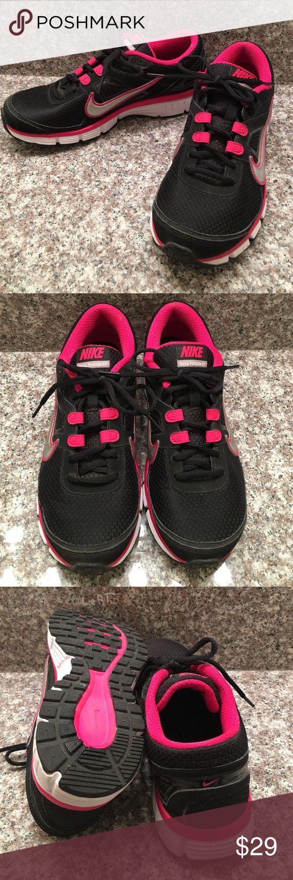 NIKE Dual Fusion Stability Support Shoes US 10 Great running shoes with good support💕❤️💕US 10💕❤️💕Black and Pink with silver swoosh💕❤️💕very good used condition and very gently worn💕❤️💕happy poshing friends💕❤️💕 Nike Shoes Athletic Shoes